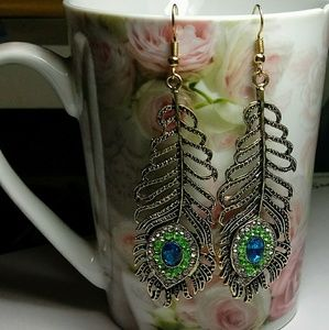 Jewelry - Antique Bronze Feather Peacock Dangle Earrings
